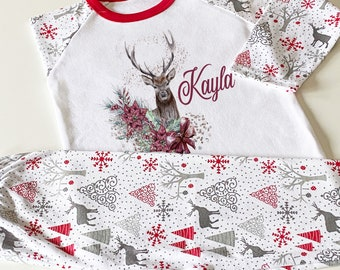 Personalised Kids Christmas Pajama's, Cotton Nightwear for Children, Xmas Eve Box Filler, Deer Reindeer and name