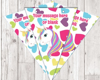 BP97 Unicorn personalised flag bunting x 10 flags with ribbon