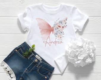 Children's White Cotton Personalised T-shirt - Blush Girls Butterfly