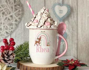 Personalised Pink mug with spoon, Reindeer Baby Deer Rainbow, Luxury Ceramic mug perfect for hot chocolate with a spoon