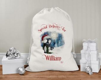 personalised Santa Sack, Xmas Toy Sack, Gift from Santa -  Cute Christmas Penguin Santa Special Delivery