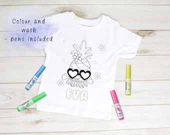 ONLY ONE - Name Eva Personalised Summer time pineapple Colour In activity Kids T-shirt - with washable pens