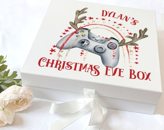 Personalised Keepsake Box with ribbon tie front - Silver Xmas Gaming Controller with Antlers, Christmas Eve Box, Gift Box