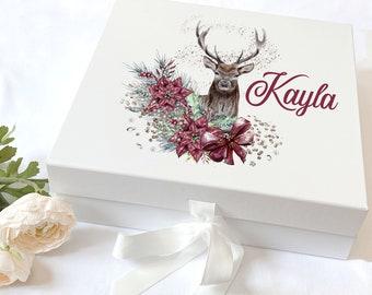 Personalised Keepsake Box with ribbon tie front - Deer Reindeer with Flowers, Christmas Eve Box, Gift Box