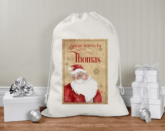personalised Santa Sack, Xmas Toy Sack, Gift from Santa - Vintage Father Christmas Santa Special Delivery