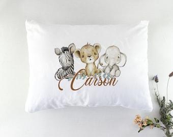 Personalised Bedding Pillowcase, Safari Jungle Animals. AMAZING QUALITY white 75*50c, Gift for children