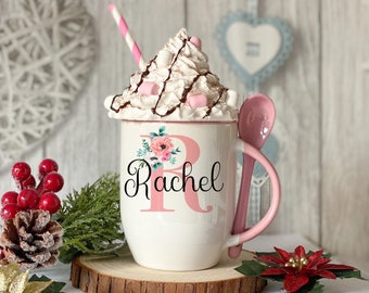 Personalised Pink mug with spoon, Pink Alphabet Letter, Luxury Ceramic mug perfect for hot chocolate with a spoon