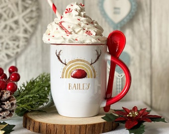 Personalised Red mug with spoon, Gold Rainbow with Antlers and red nose, Luxury Ceramic mug perfect for hot chocolate with a spoon