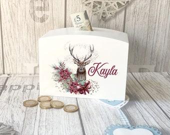 Christmas Deer Reindeer and Flowers Personalised Solid luxury curved top rectangular white money box