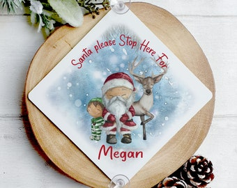 Personalised Santa Stop Here Sign, Aluminium Window Sign with suckers, Father Christmas Elf and Reindeer