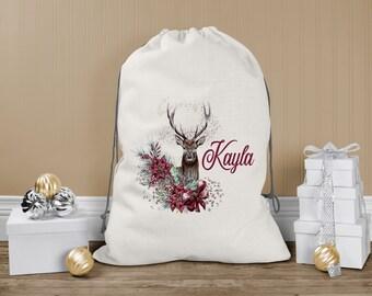 Personalised Santa Sack, Babies First Christmas, Xmas Toy Sack, Gift from Santa - Deer with Flowers, Reindeer and Name