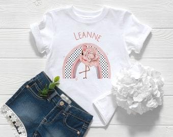 Children's White Cotton Personalised T-shirt - Girls Flamingo Rainbow