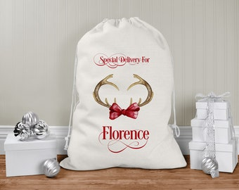 personalised Santa Sack, Xmas Toy Sack, Gift from Santa - Reindeer Antlers Christmas Santa Special Delivery