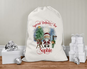 personalised Santa Sack, Xmas Toy Sack, Gift from Santa -  Reindeer Father Christmas and little Elf Santa Special Delivery