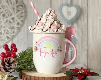 Personalised Pink mug with spoon, Happy Rainbow, Luxury Ceramic mug perfect for hot chocolate with a spoon