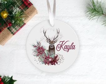 Deer with Flowers Reindeer Xmas tree ceramic bauble decoration 8cm red ribbon, mum, nan, grandad, dad, auntie, sister, ANY NAME