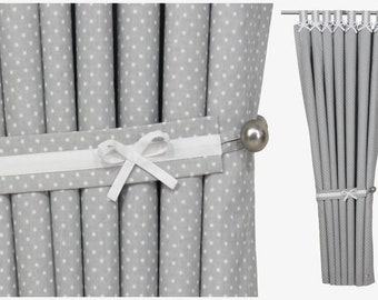 Grey White Nursery Blackout Curtains with Bows, Gender Neutral Drapes for Baby Room, Polka Dot Baby Girl Boy Blackout Window Treatment.