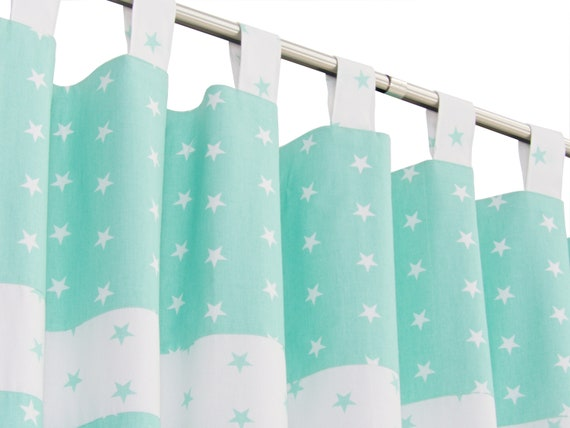 Weiß grün Kinderzimmer Vorhang Panel mit Sternen-Gender Neutral  Kinderzimmer Fenster Vorhang drapieren-Mint Grün Blackout Vorhang  63\
