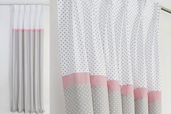 Bébé fille chambre d'enfant gris rose des rideaux - rideaux pour fille  chambre d'enfant-oeillet pépinière rideaux-Pastel Rose crèche  rideaux-tailles ...