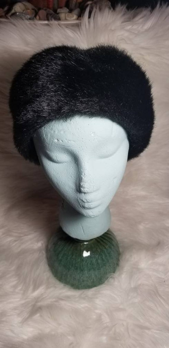 Vintage Everitt Black Faux Fur Bucket Hat