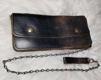 Vintage 1970s Well Loved Leather Chain Wallet
