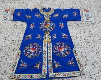 Antique chinese silk rare hand embroidered Robe jacket  figurel kimono textile vintage dress 19s costume stunning blue coat