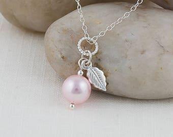 Rosaline Pink Swarovski Pearl with Sterling Silver Leaf Charm