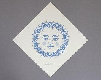 Sun Linocut Print