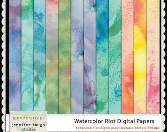 Instant Download - Set of 12 digital papers - Watercolor Riot Backgrounds