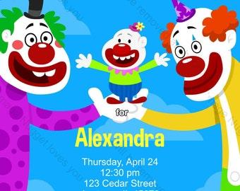 Clown Einladung Zum Kindergeburtstag   Druckbare Geburtstag Einladen Für  Einen Jungen Oder Mädchen Zirkus Clown Geburtstags Party