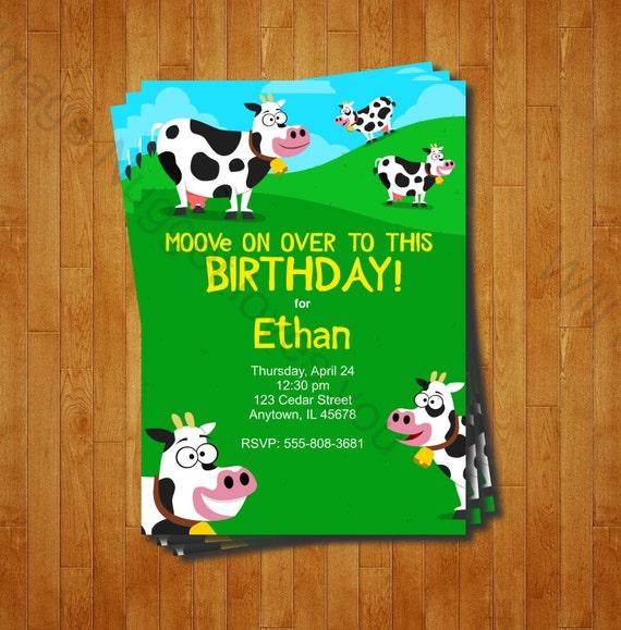 Cow Party Invitation Printable Birthday Invite For A Farm