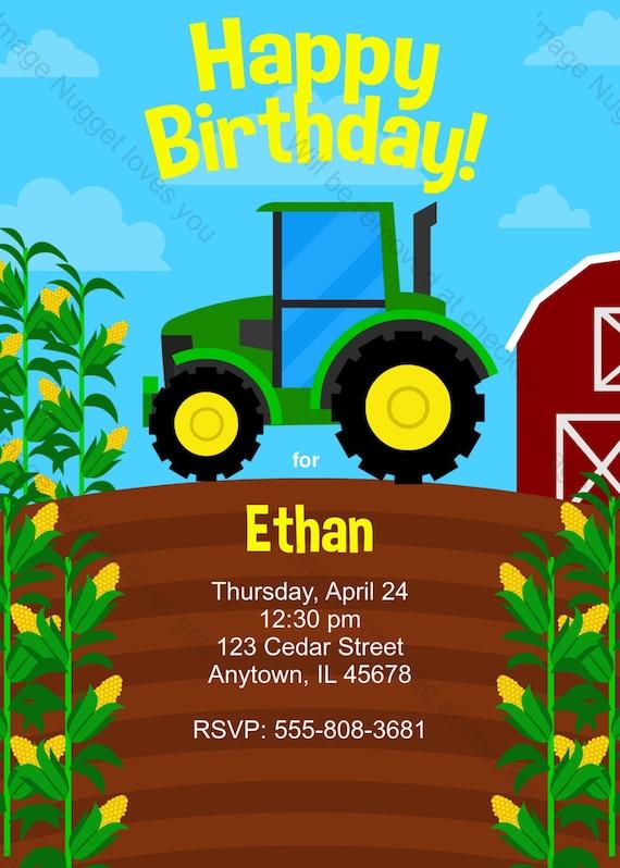 Landwirtschaft Traktor Einladung Zum Kindergeburtstag