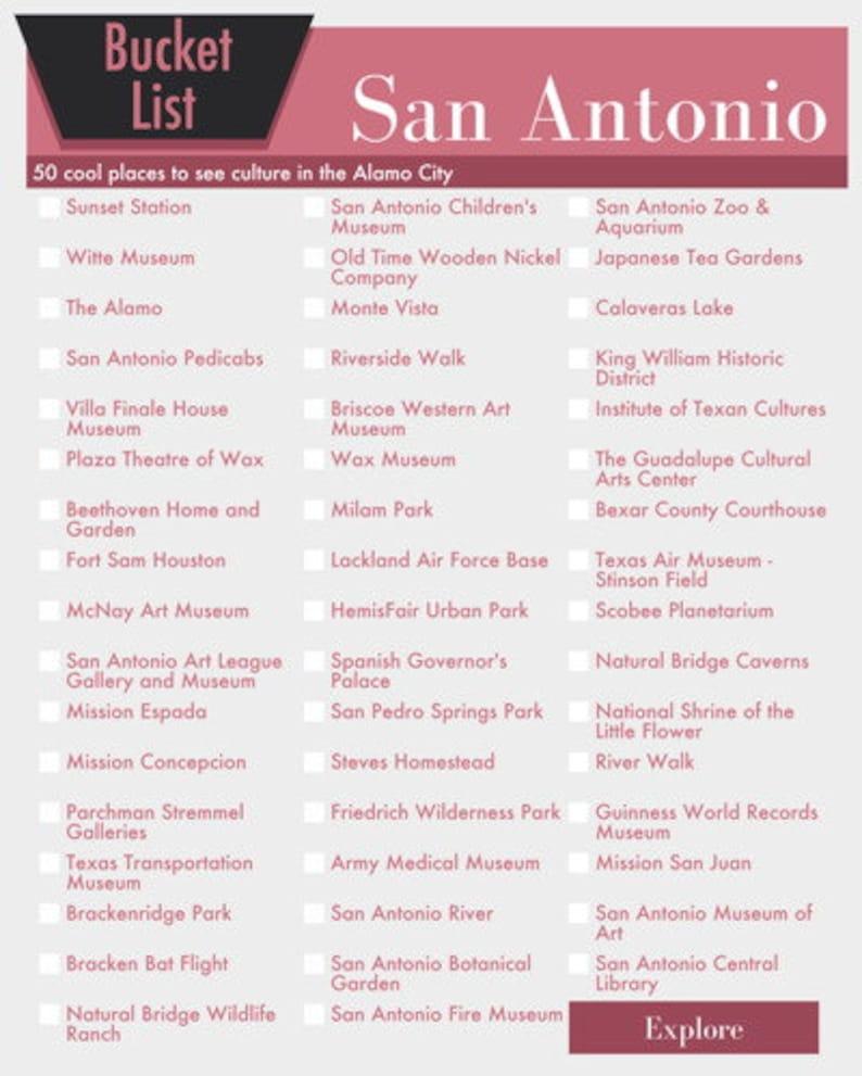 San Antonio Texas Bucket List Wall Art 50 Fun Things To Do In The Alamo City Printable Digital Design