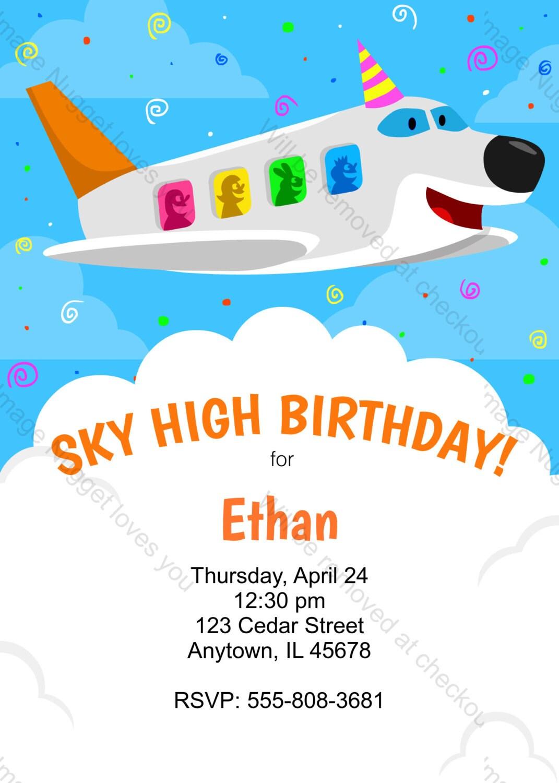 Airplane Birthday Invitation printable design customizable | Etsy