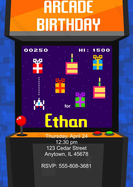 Arcade videojuegos 8 bits cumpleaños partido invitación