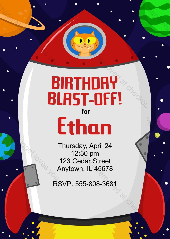 Rocketship Birthday Invitation printable design | Etsy