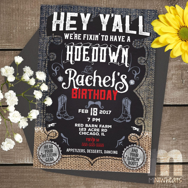 Hoedown Kids Birthday Invitation Kids Birthday Card Digital image 0