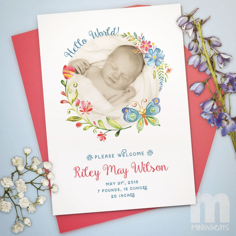 Birth Announcement Girl Birth Announcement Card Butterfly image 0