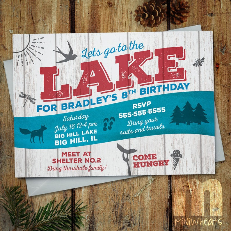 Lake Party Kids Birthday Invitation Digital Printable image 0