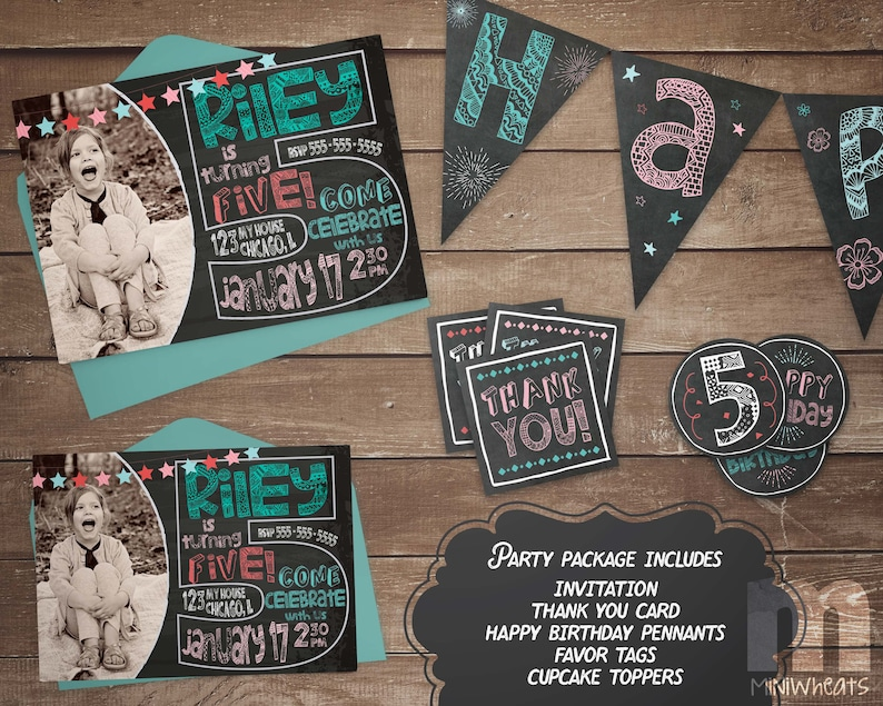 Boys Chalkboard Pool Party Cupcake Toppers Party Favor Tags Printable