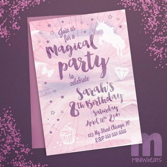 Unicorn Magical Birthday Watercolor Printable Invitation