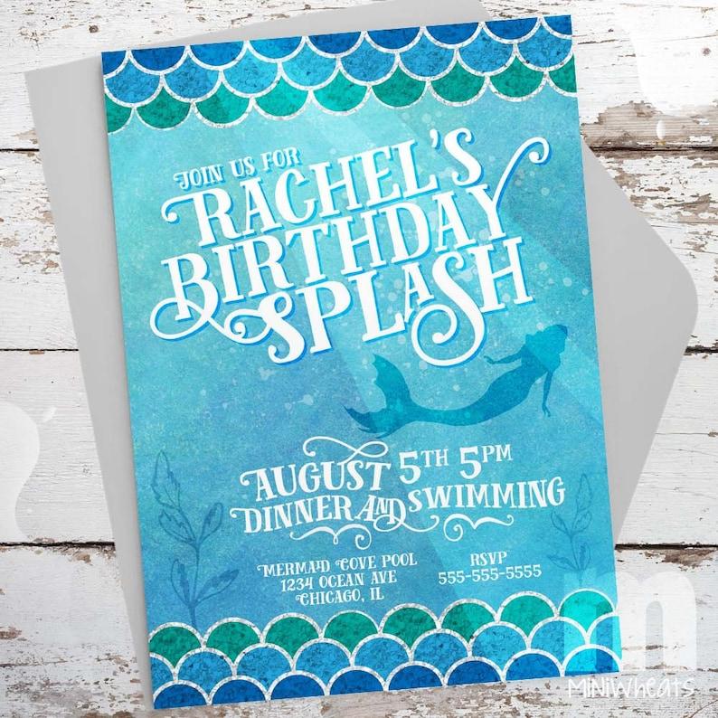 Mermaid Splash Kids Birthday Invitation Kids Birthday Card image 0