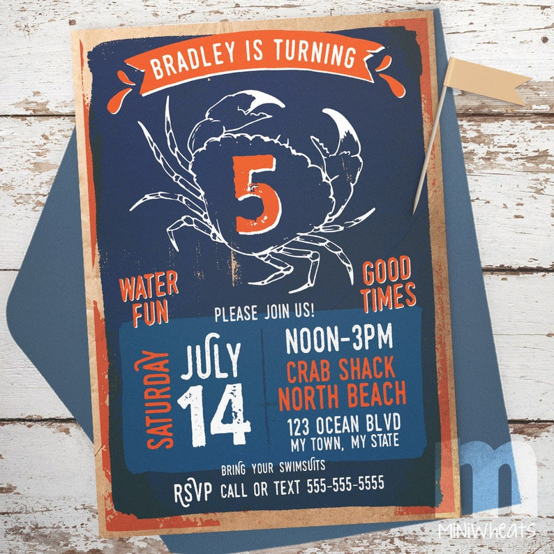 Crab Party Kids Birthday Invitation Digital Printable image 0