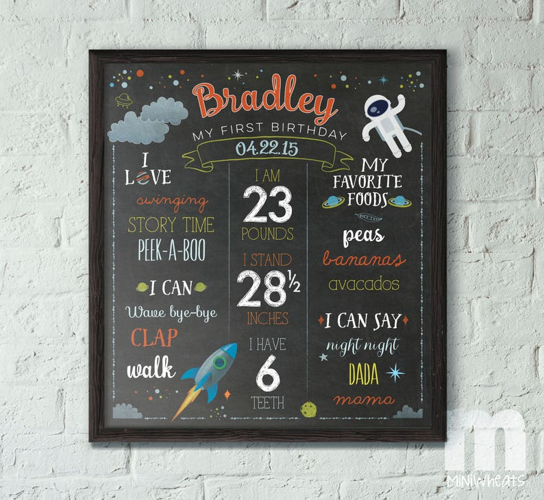 Space Birthday Sign for Kids 1st Birthday Chalkboard Sign image 0