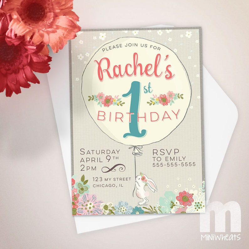 Bunny Kids Birthday Invitation Kids Birthday Card Digital image 0
