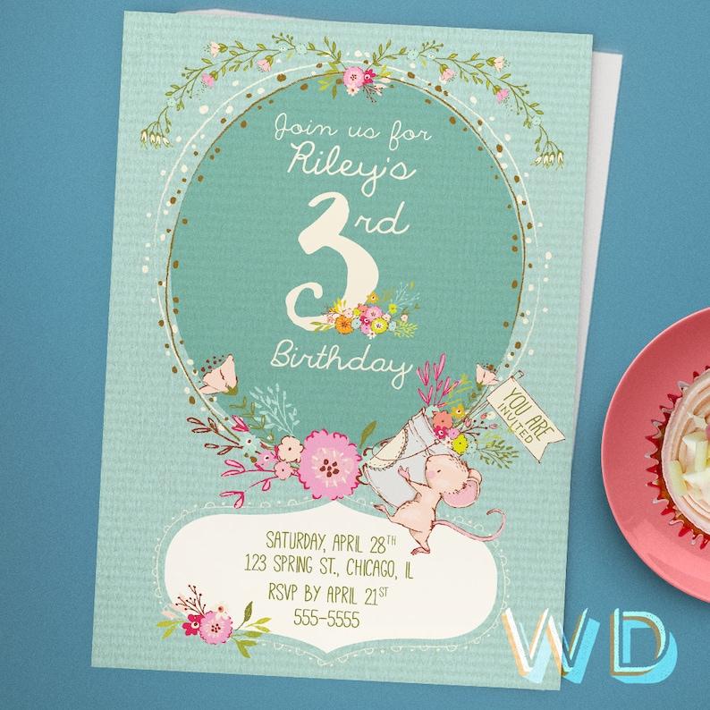 Spring Mouse Kids Birthday Invitation 3rd Birthday Card image 0