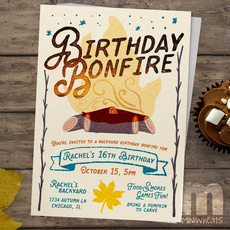 Kids Birthday Invitation Backyard Birthday Bonfire Kids image 0