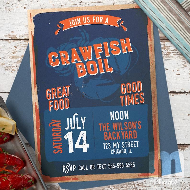 Crawfish Boil Party Invitation Digital Printable Invitation image 0