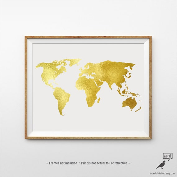 Gold World Map Poster.Gold World Map Poster Matte Gold Print Large World Map Etsy