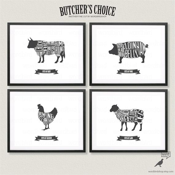 Metzger-Diagramm eingerichtet Rind Schwein Huhn und Lamm | Etsy